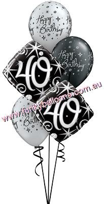 40th Elegant Sparkles Swirls Bouquet