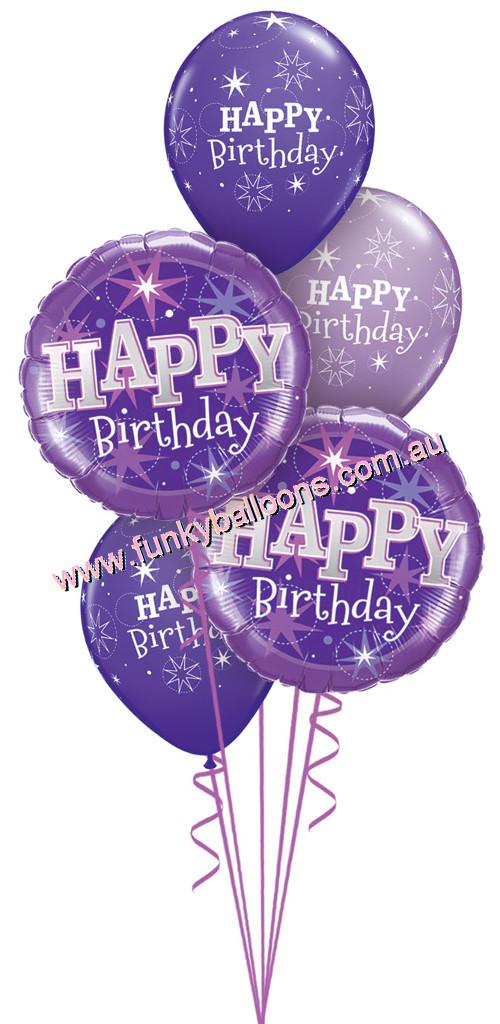 Quartz Purple Happy Birthday Bouquet 4200 Funky Balloons