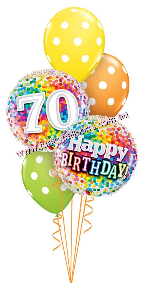 70th Birthday Funky Balloons Adelaide SA Balloon Gift